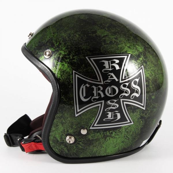 ジャムテックジャパン 72JAM JCP-16RASH CROSS ラッシュクロス グリーン ジェットヘルメット [グリーンラップベースグロス仕上げ]FREEサイズ(57-60cm未満) メンズ レディース 兼用品 SG規格 全排気量対応