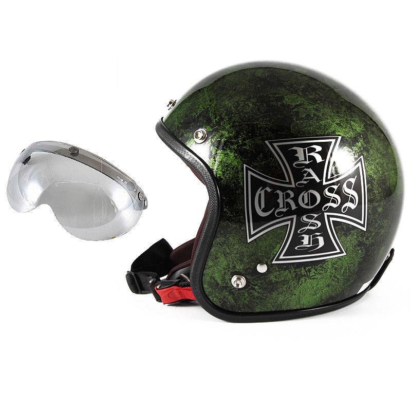 72JAM デザイナーズジェットヘルメット [JCP-16] 開閉シールド付き [APS-04]RASH CROSS ラッシュクロス グリーン [グリーンラップベースグロス仕上げ]FREEサイズ(57-60cm未満) メンズ レディース 兼用品 SG規格 全排気量対応