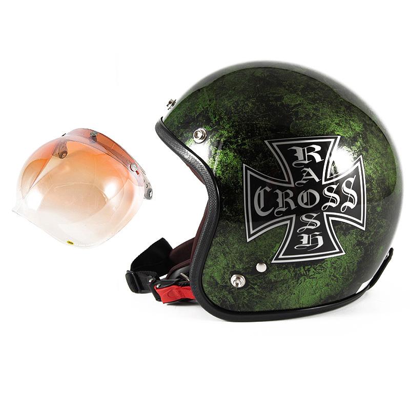 72JAM デザイナーズジェットヘルメット [JCP-16] 開閉シールド付き [JCBN-04]RASH CROSS ラッシュクロス グリーン [グリーンラップベースグロス仕上げ]FREEサイズ(57-60cm未満) メンズ レディース 兼用品 SG規格 全排気量対応