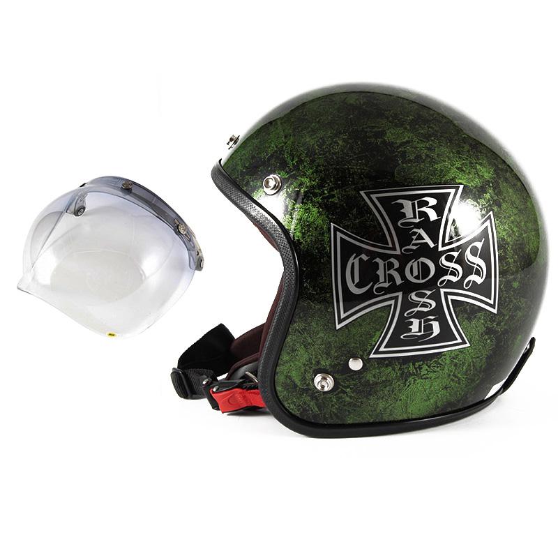 72JAM デザイナーズジェットヘルメット [JCP-16] 開閉シールド付き [JCBN-05]RASH CROSS ラッシュクロス グリーン [グリーンラップベースグロス仕上げ]FREEサイズ(57-60cm未満) メンズ レディース 兼用品 SG規格 全排気量対応
