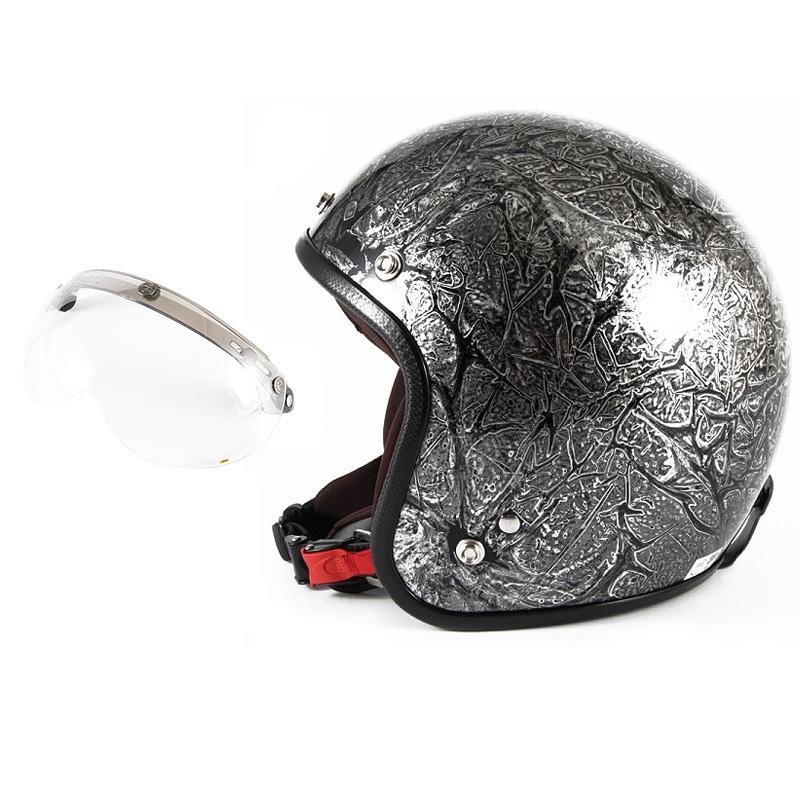 72JAM デザイナーズジェットヘルメット [JCP-17] 開閉シールド付き [APS-01]RASH ラッシュ シルバー [シルバーラップベースグロス仕上げ]FREEサイズ(57-60cm未満) メンズ レディース 兼用品 SG規格 全排気量対応