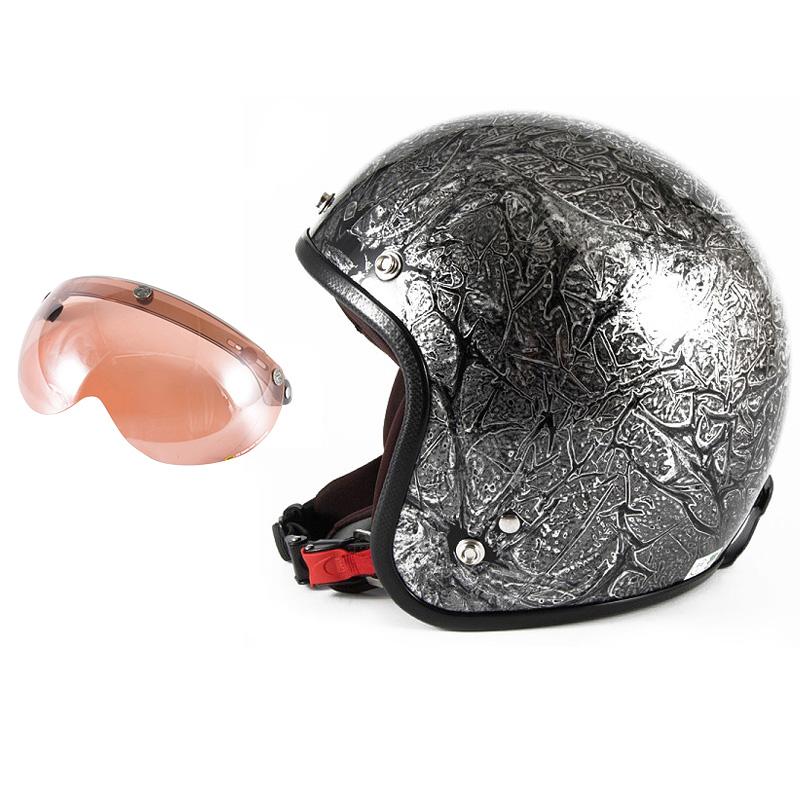 72JAM デザイナーズジェットヘルメット [JCP-17] 開閉シールド付き [APS-05]RASH ラッシュ シルバー [シルバーラップベースグロス仕上げ]FREEサイズ(57-60cm未満) メンズ レディース 兼用品 SG規格 全排気量対応