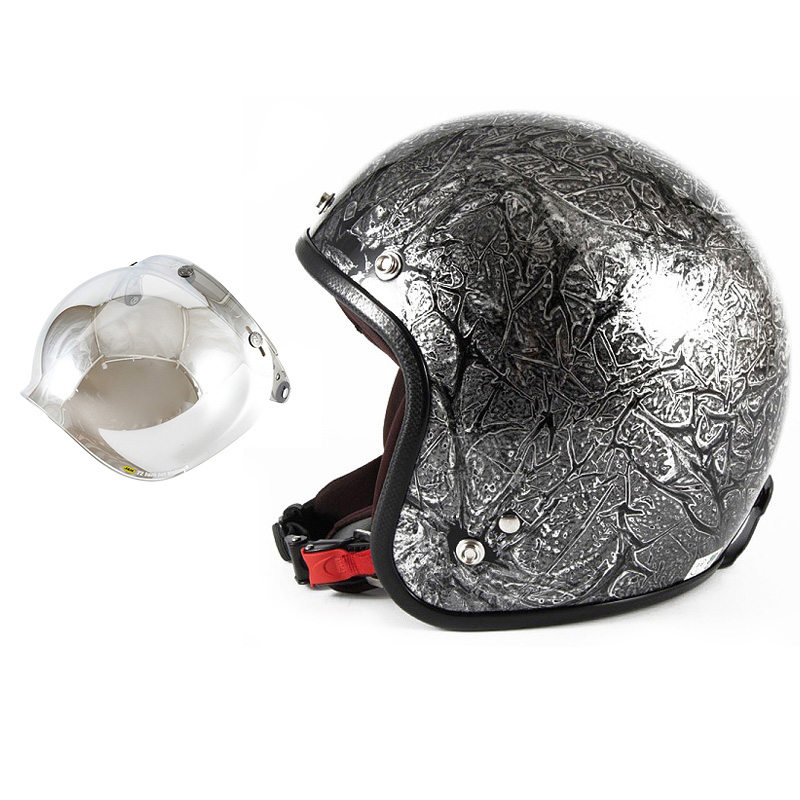 72JAM デザイナーズジェットヘルメット [JCP-17] 開閉シールド付き [JCBN-02]RASH ラッシュ シルバー [シルバーラップベースグロス仕上げ]FREEサイズ(57-60cm未満) メンズ レディース 兼用品 SG規格 全排気量対応