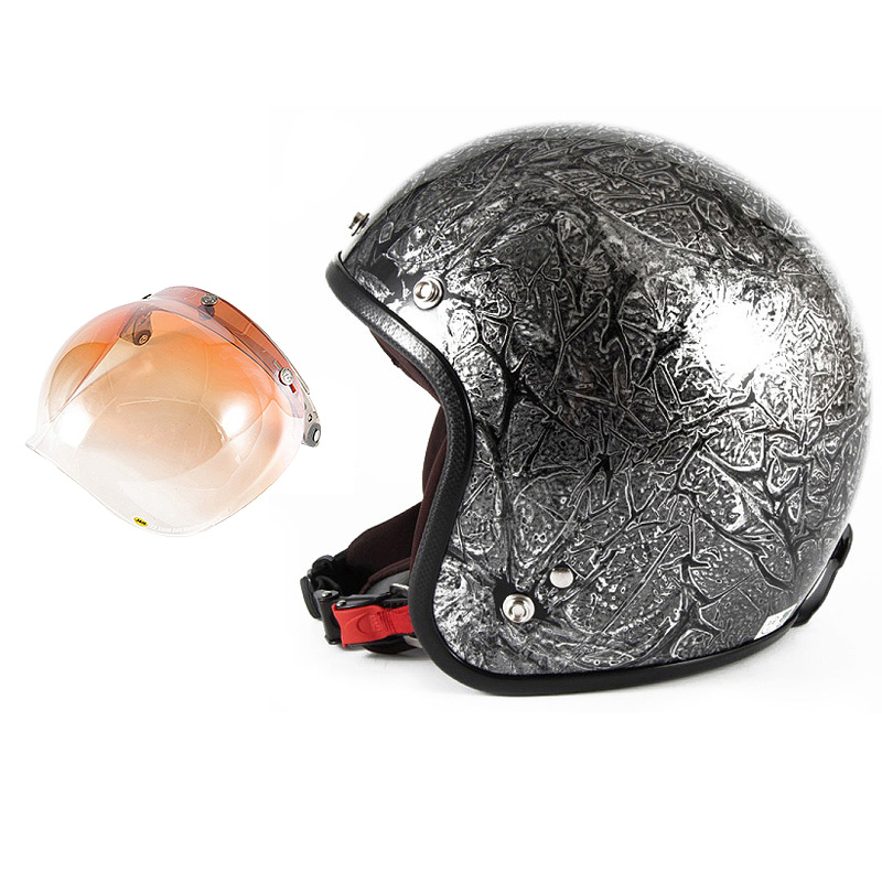 72JAM デザイナーズジェットヘルメット [JCP-17] 開閉シールド付き [JCBN-04]RASH ラッシュ シルバー [シルバーラップベースグロス仕上げ]FREEサイズ(57-60cm未満) メンズ レディース 兼用品 SG規格 全排気量対応