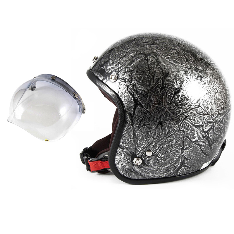 72JAM デザイナーズジェットヘルメット [JCP-17] 開閉シールド付き [JCBN-05]RASH ラッシュ シルバー [シルバーラップベースグロス仕上げ]FREEサイズ(57-60cm未満) メンズ レディース 兼用品 SG規格 全排気量対応