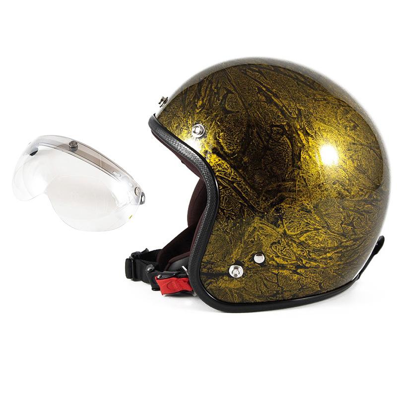 72JAM デザイナーズジェットヘルメット [JCP-18] 開閉シールド付き [APS-02]RASH ラッシュ ゴールド [ゴールドラップベースグロス仕上げ]FREEサイズ(57-60cm未満) メンズ レディース 兼用品 SG規格 全排気量対応