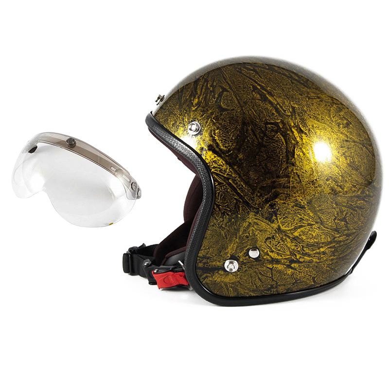 72JAM デザイナーズジェットヘルメット [JCP-18] 開閉シールド付き [APS-03]RASH ラッシュ ゴールド [ゴールドラップベースグロス仕上げ]FREEサイズ(57-60cm未満) メンズ レディース 兼用品 SG規格 全排気量対応