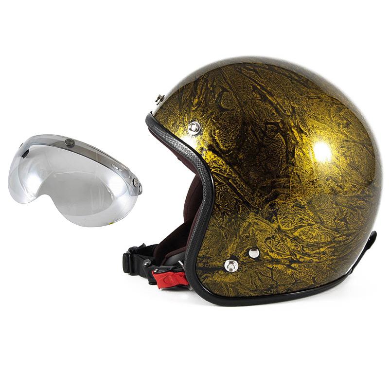 72JAM デザイナーズジェットヘルメット [JCP-18] 開閉シールド付き [APS-04]RASH ラッシュ ゴールド [ゴールドラップベースグロス仕上げ]FREEサイズ(57-60cm未満) メンズ レディース 兼用品 SG規格 全排気量対応