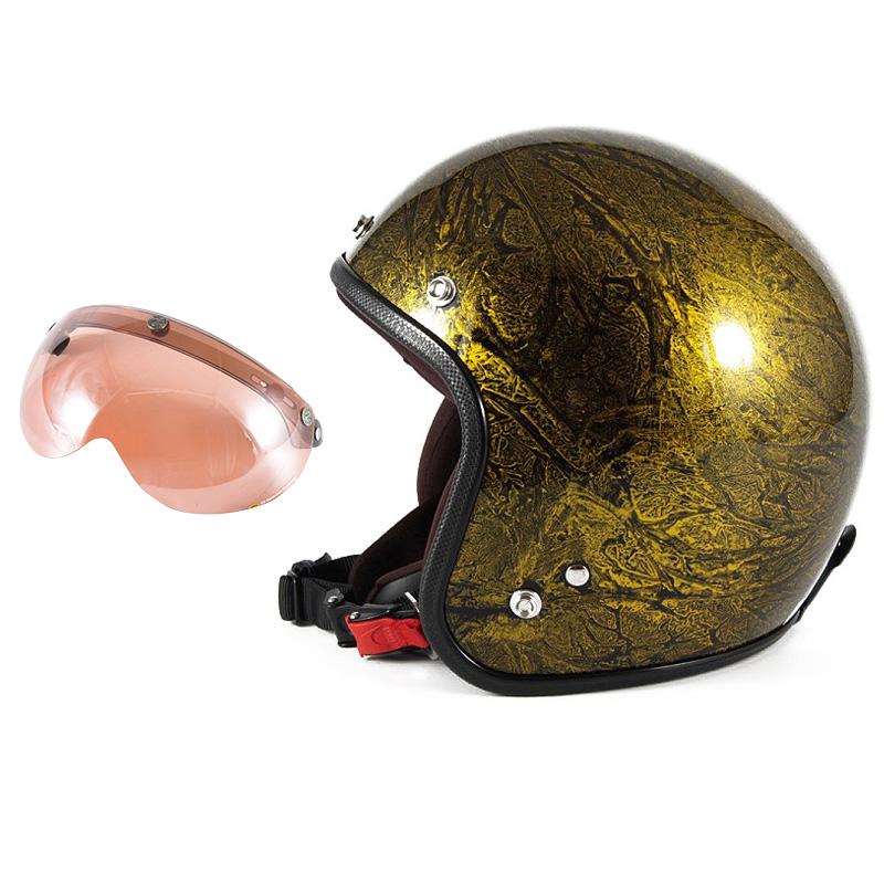 72JAM デザイナーズジェットヘルメット [JCP-18] 開閉シールド付き [APS-05]RASH ラッシュ ゴールド [ゴールドラップベースグロス仕上げ]FREEサイズ(57-60cm未満) メンズ レディース 兼用品 SG規格 全排気量対応