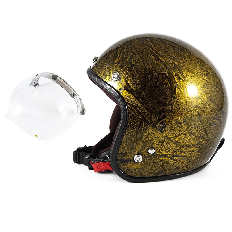 72JAM デザイナーズジェットヘルメット [JCP-18] 開閉シールド付き [JCBN-01]RASH ラッシュ ゴールド [ゴールドラップベースグロス仕上げ]FREEサイズ(57-60cm未満) メンズ レディース 兼用品 SG規格 全排気量対応