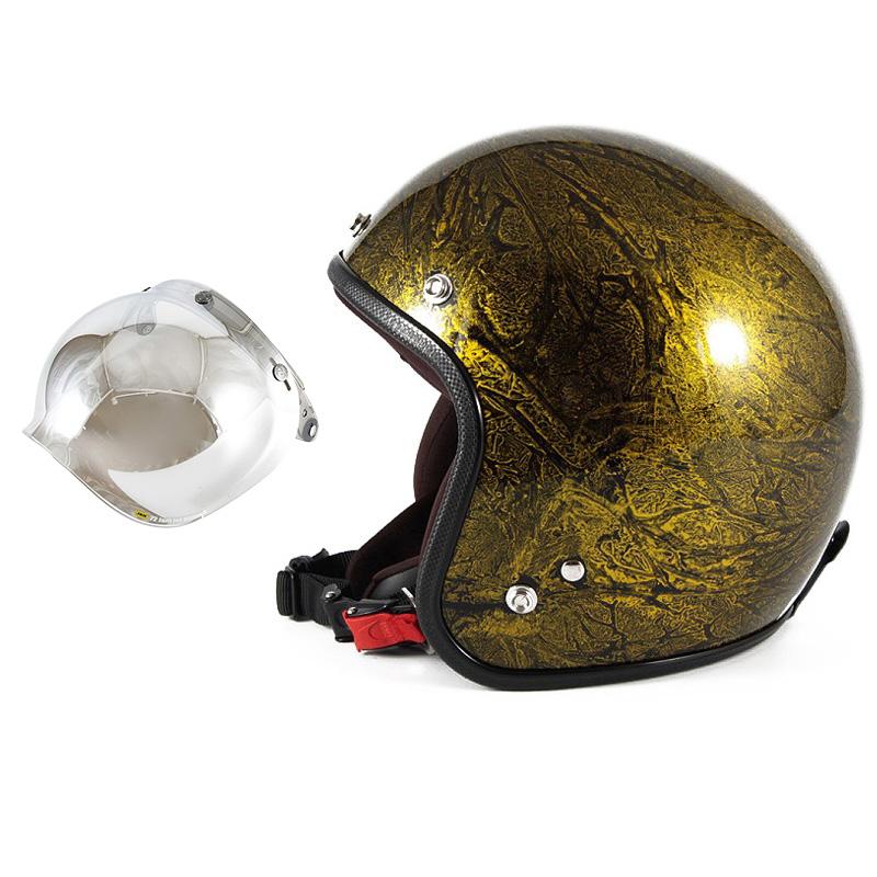 72JAM デザイナーズジェットヘルメット [JCP-18] 開閉シールド付き [JCBN-02]RASH ラッシュ ゴールド [ゴールドラップベースグロス仕上げ]FREEサイズ(57-60cm未満) メンズ レディース 兼用品 SG規格 全排気量対応