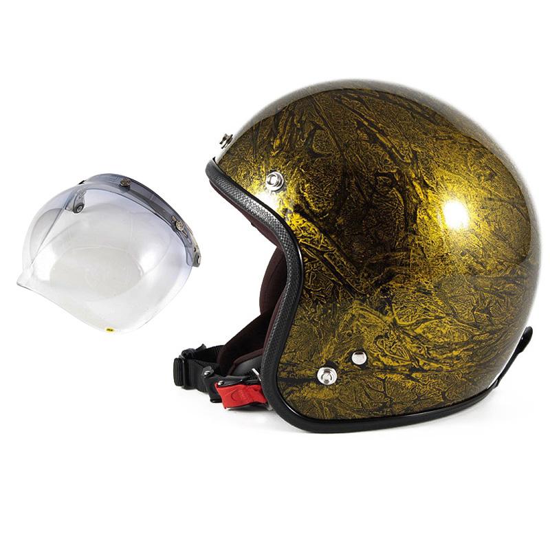72JAM デザイナーズジェットヘルメット [JCP-18] 開閉シールド付き [JCBN-05]RASH ラッシュ ゴールド [ゴールドラップベースグロス仕上げ]FREEサイズ(57-60cm未満) メンズ レディース 兼用品 SG規格 全排気量対応