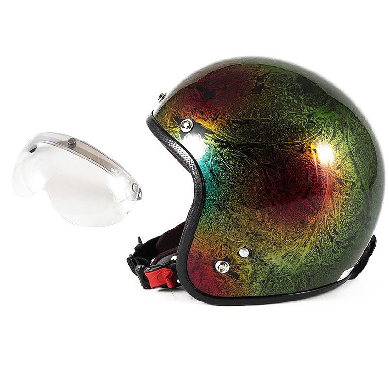 72JAM デザイナーズジェットヘルメット [JCP-19] 開閉シールド付き [APS-02]RASH ラッシュ レインボー [レインボーラップベースグロス仕上げ]FREEサイズ(57-60cm未満) メンズ レディース 兼用品 SG規格 全排気量対応