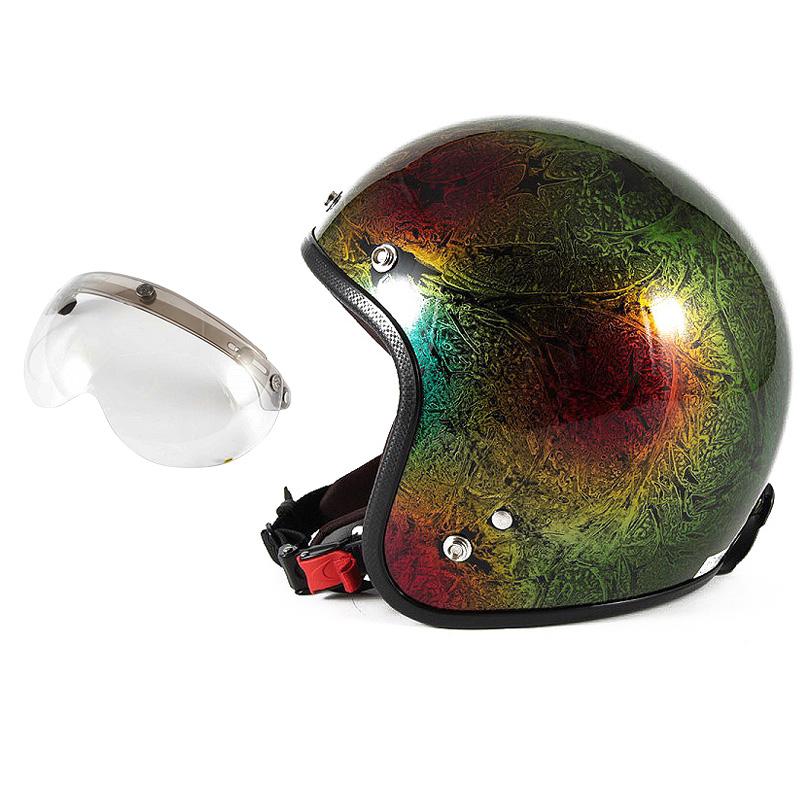 72JAM デザイナーズジェットヘルメット [JCP-19] 開閉シールド付き [APS-03]RASH ラッシュ レインボー [レインボーラップベースグロス仕上げ]FREEサイズ(57-60cm未満) メンズ レディース 兼用品 SG規格 全排気量対応