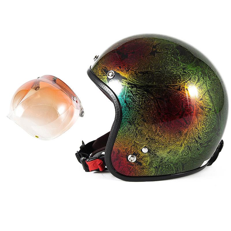 72JAM デザイナーズジェットヘルメット [JCP-19] 開閉シールド付き [JCBN-04]RASH ラッシュ レインボー [レインボーラップベースグロス仕上げ]FREEサイズ(57-60cm未満) メンズ レディース 兼用品 SG規格 全排気量対応