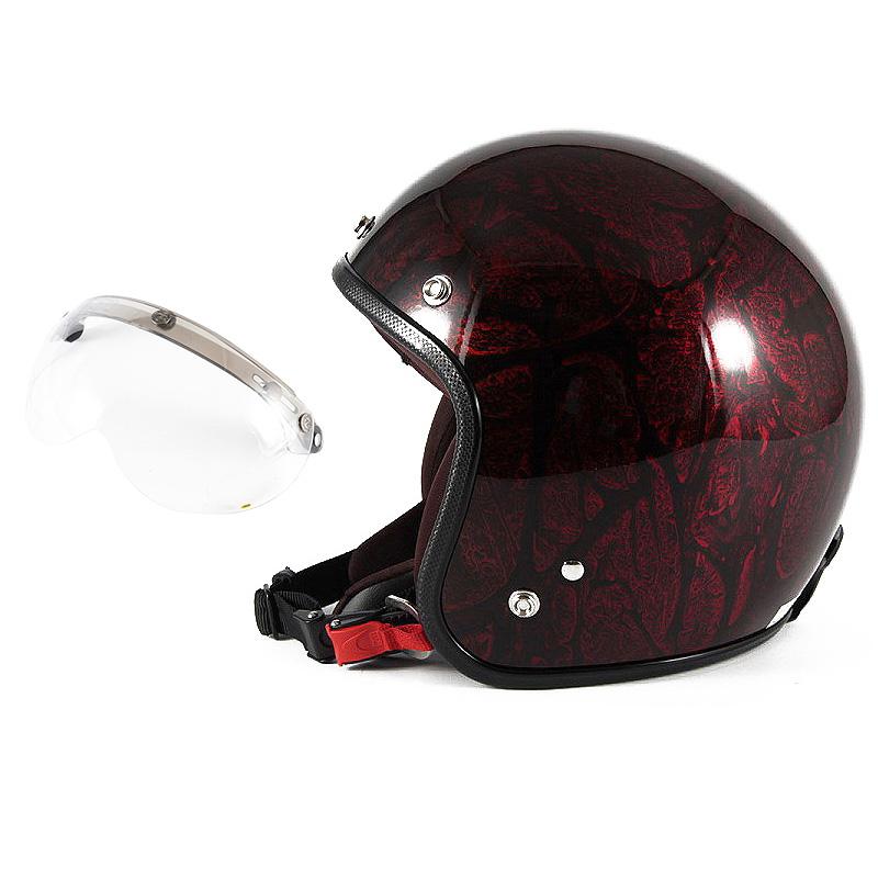 72JAM デザイナーズジェットヘルメット [JCP-20] 開閉シールド付き [APS-01]RASH ラッシュ レッド/ブラウン [レッドラップベースグロス仕上げ]FREEサイズ(57-60cm未満) メンズ レディース 兼用品 SG規格 全排気量対応