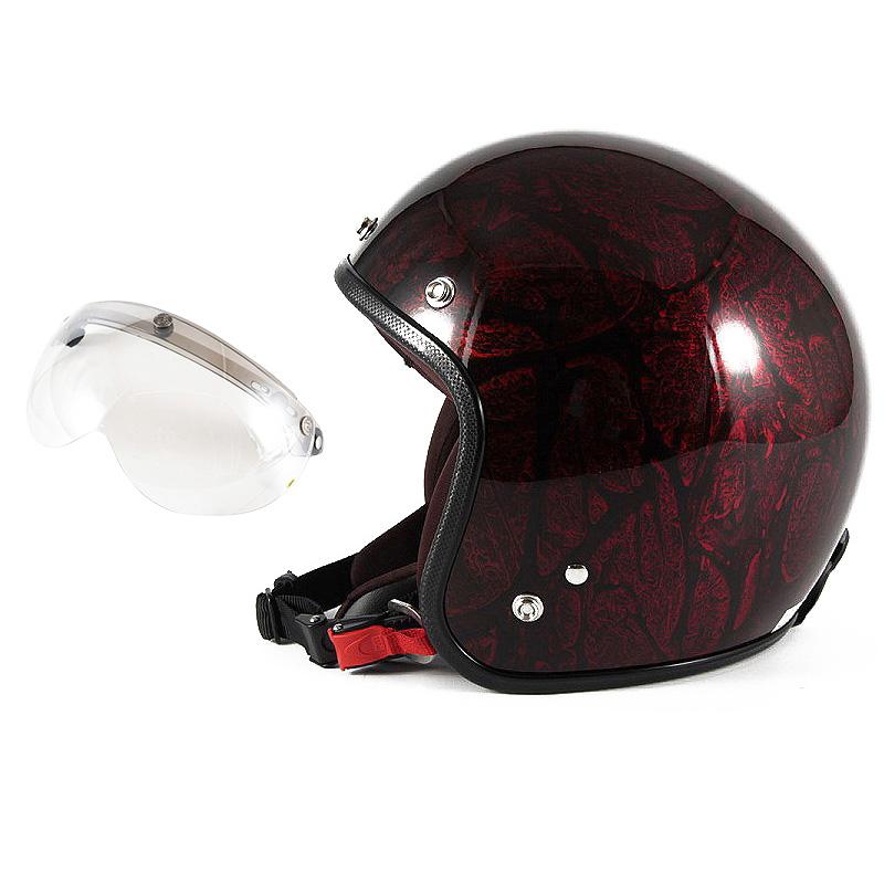 72JAM デザイナーズジェットヘルメット [JCP-20] 開閉シールド付き [APS-02]RASH ラッシュ レッド/ブラウン [レッドラップベースグロス仕上げ]FREEサイズ(57-60cm未満) メンズ レディース 兼用品 SG規格 全排気量対応