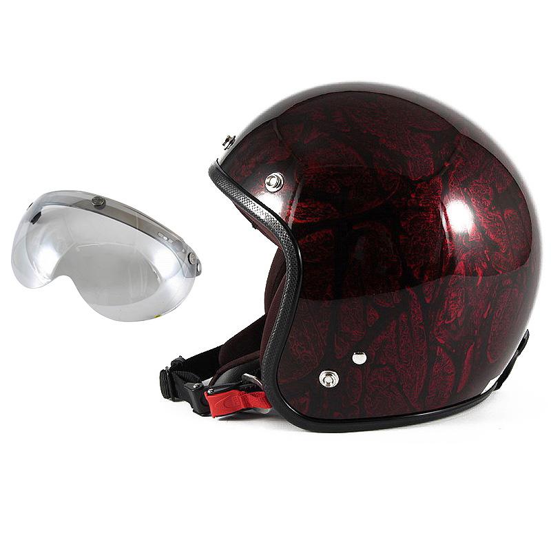 72JAM デザイナーズジェットヘルメット [JCP-20] 開閉シールド付き [APS-04]RASH ラッシュ レッド/ブラウン [レッドラップベースグロス仕上げ]FREEサイズ(57-60cm未満) メンズ レディース 兼用品 SG規格 全排気量対応