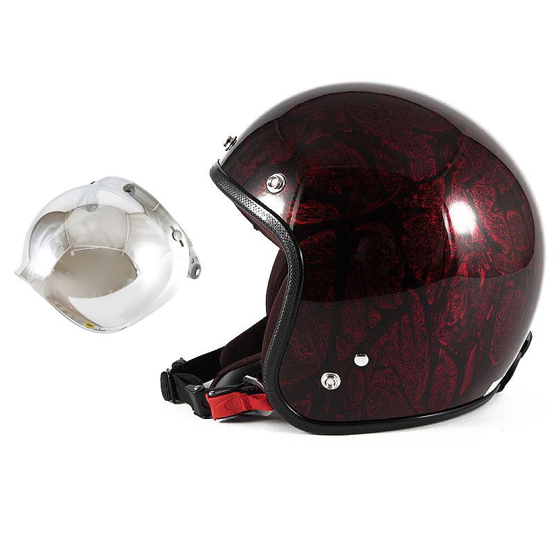 72JAM デザイナーズジェットヘルメット [JCP-20] 開閉シールド付き [JCBN-02]RASH ラッシュ レッド/ブラウン [レッドラップベースグロス仕上げ]FREEサイズ(57-60cm未満) メンズ レディース 兼用品 SG規格 全排気量対応