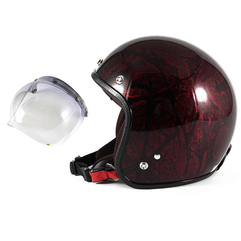 72JAM デザイナーズジェットヘルメット [JCP-20] 開閉シールド付き [JCBN-05]RASH ラッシュ レッド/ブラウン [レッドラップベースグロス仕上げ]FREEサイズ(57-60cm未満) メンズ レディース 兼用品 SG規格 全排気量対応