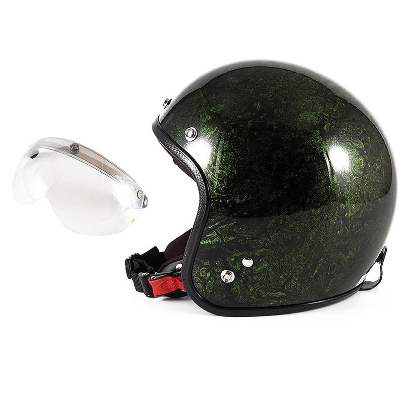 72JAM デザイナーズジェットヘルメット [JCP-21] 開閉シールド付き [APS-02]RASH ラッシュ グリーン [グリーンラップベースグロス仕上げ]FREEサイズ(57-60cm未満) メンズ レディース 兼用品 SG規格 全排気量対応