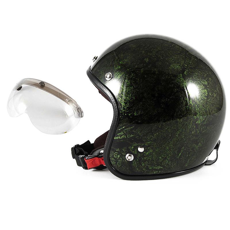 72JAM デザイナーズジェットヘルメット [JCP-21] 開閉シールド付き [APS-03]RASH ラッシュ グリーン [グリーンラップベースグロス仕上げ]FREEサイズ(57-60cm未満) メンズ レディース 兼用品 SG規格 全排気量対応