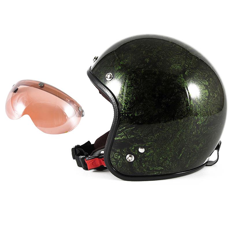 72JAM デザイナーズジェットヘルメット [JCP-21] 開閉シールド付き [APS-05]RASH ラッシュ グリーン [グリーンラップベースグロス仕上げ]FREEサイズ(57-60cm未満) メンズ レディース 兼用品 SG規格 全排気量対応