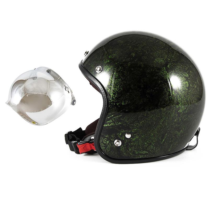 72JAM デザイナーズジェットヘルメット [JCP-21] 開閉シールド付き [JCBN-02]RASH ラッシュ グリーン [グリーンラップベースグロス仕上げ]FREEサイズ(57-60cm未満) メンズ レディース 兼用品 SG規格 全排気量対応