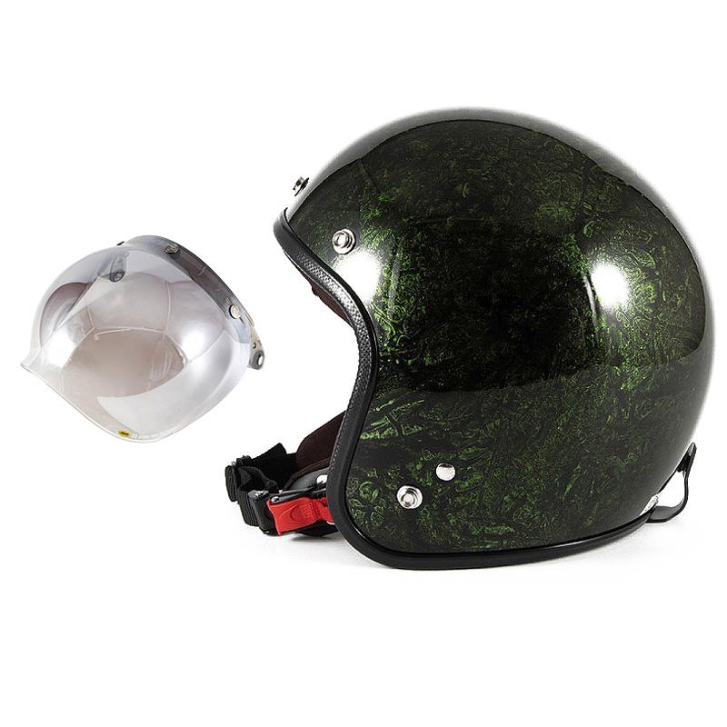 72JAM デザイナーズジェットヘルメット [JCP-21] 開閉シールド付き [JCBN-03]RASH ラッシュ グリーン [グリーンラップベースグロス仕上げ]FREEサイズ(57-60cm未満) メンズ レディース 兼用品 SG規格 全排気量対応