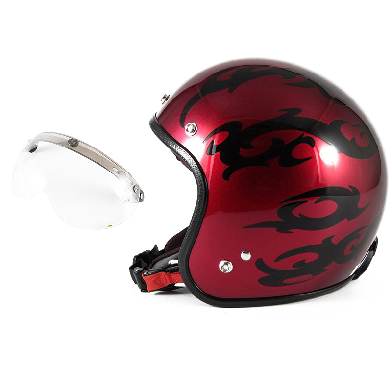 72JAM デザイナーズジェットヘルメット [JCP-22] 開閉シールド付き [APS-01]TRIBAL トライバル レッド [キャンディーレッドグラデーションブラックベースグロス仕上げ]FREEサイズ(57-60cm未満) メンズ レディース 兼用品 SG規格 全排気量対応