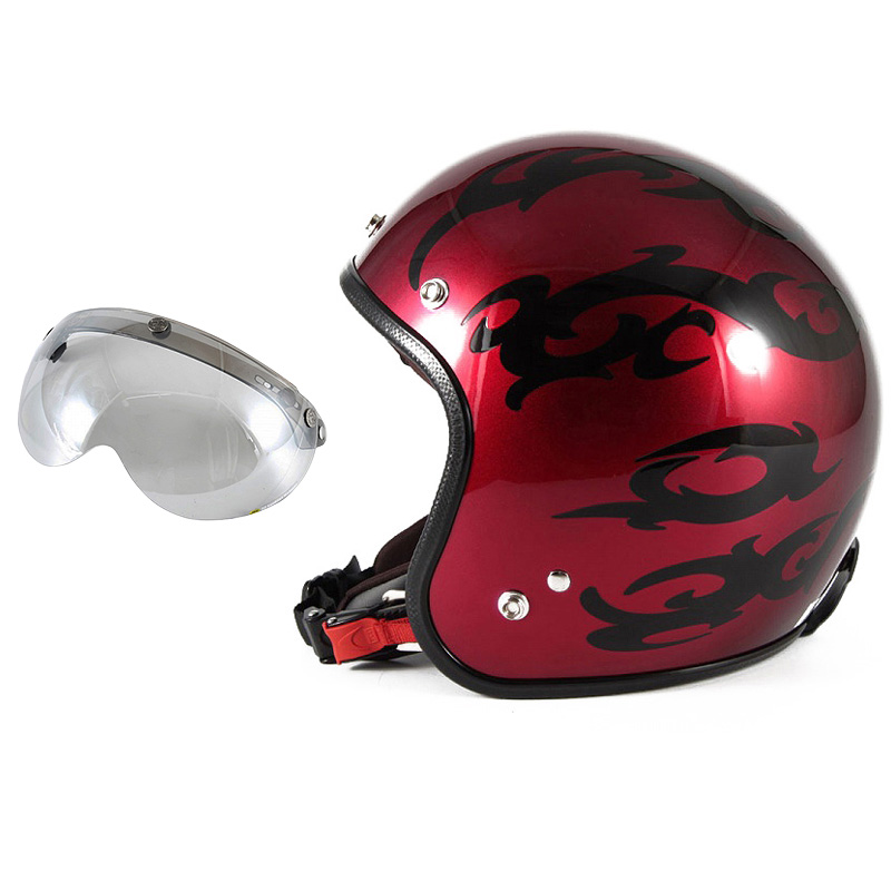 72JAM デザイナーズジェットヘルメット [JCP-22] 開閉シールド付き [APS-04]TRIBAL トライバル レッド [キャンディーレッドグラデーションブラックベースグロス仕上げ]FREEサイズ(57-60cm未満) メンズ レディース 兼用品 SG規格 全排気量対応