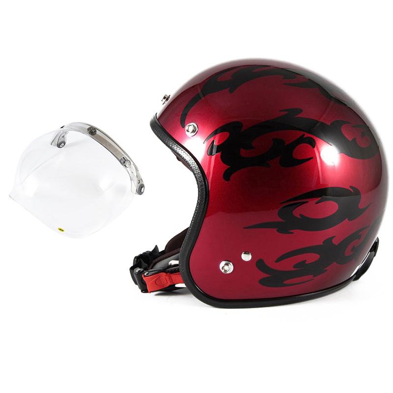 72JAM デザイナーズジェットヘルメット [JCP-22] 開閉シールド付き [JCBN-01]TRIBAL トライバル レッド [キャンディーレッドグラデーションブラックベースグロス仕上げ]FREEサイズ(57-60cm未満) メンズ レディース 兼用品 SG規格 全排気量対応