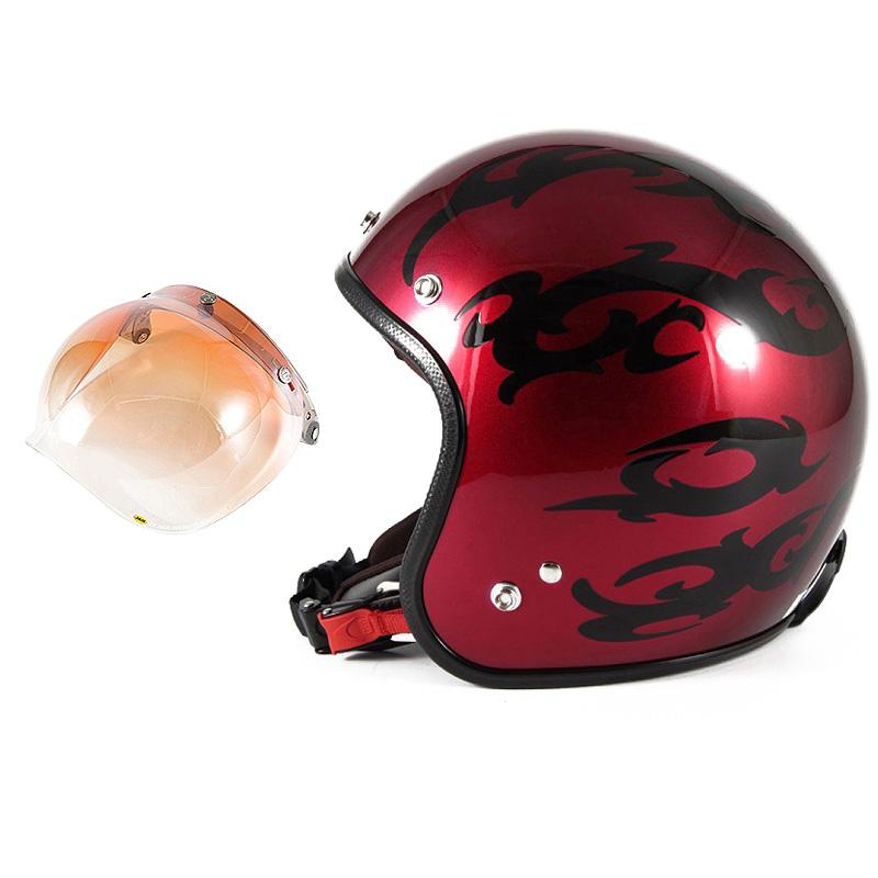 72JAM デザイナーズジェットヘルメット [JCP-22] 開閉シールド付き [JCBN-04]TRIBAL トライバル レッド [キャンディーレッドグラデーションブラックベースグロス仕上げ]FREEサイズ(57-60cm未満) メンズ レディース 兼用品 SG規格 全排気量対応