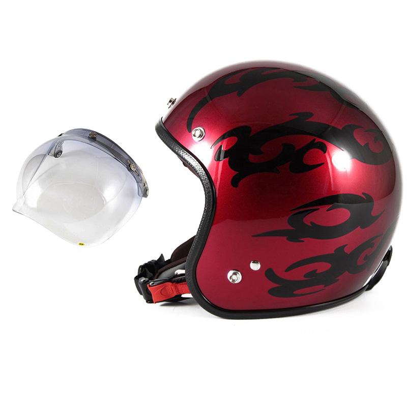 72JAM デザイナーズジェットヘルメット [JCP-22] 開閉シールド付き [JCBN-05]TRIBAL トライバル レッド [キャンディーレッドグラデーションブラックベースグロス仕上げ]FREEサイズ(57-60cm未満) メンズ レディース 兼用品 SG規格 全排気量対応