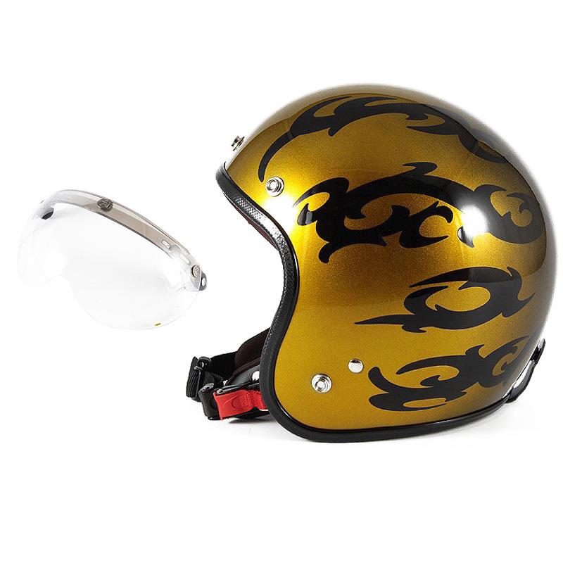 72JAM デザイナーズジェットヘルメット [JCP-23] 開閉シールド付き [APS-01]TRIBAL トライバル ゴールド [キャンディーゴールドグラデーションベースグロス仕上げ]FREEサイズ(57-60cm未満) メンズ レディース 兼用品 SG規格 全排気量対応