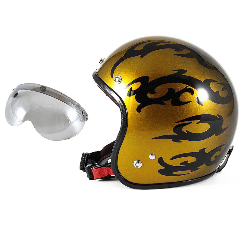 72JAM デザイナーズジェットヘルメット [JCP-23] 開閉シールド付き [APS-04]TRIBAL トライバル ゴールド [キャンディーゴールドグラデーションベースグロス仕上げ]FREEサイズ(57-60cm未満) メンズ レディース 兼用品 SG規格 全排気量対応