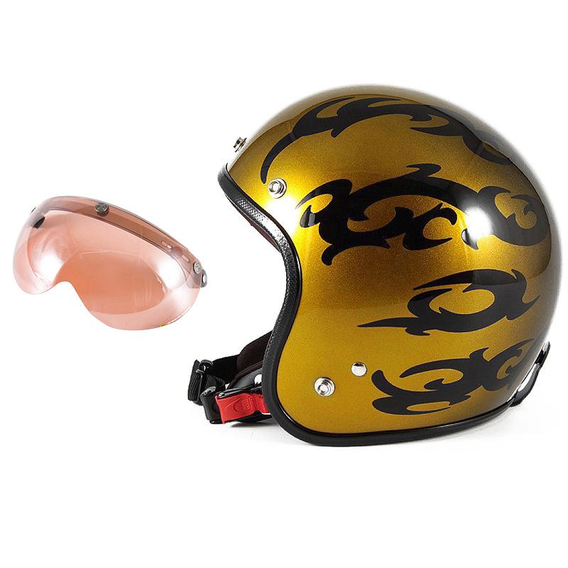 72JAM デザイナーズジェットヘルメット [JCP-23] 開閉シールド付き [APS-05]TRIBAL トライバル ゴールド [キャンディーゴールドグラデーションベースグロス仕上げ]FREEサイズ(57-60cm未満) メンズ レディース 兼用品 SG規格 全排気量対応