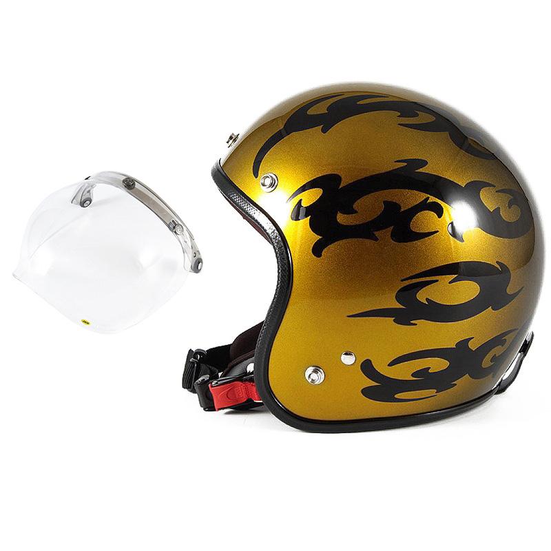 72JAM デザイナーズジェットヘルメット [JCP-23] 開閉シールド付き [JCBN-01]TRIBAL トライバル ゴールド [キャンディーゴールドグラデーションベースグロス仕上げ]FREEサイズ(57-60cm未満) メンズ レディース 兼用品 SG規格 全排気量対応