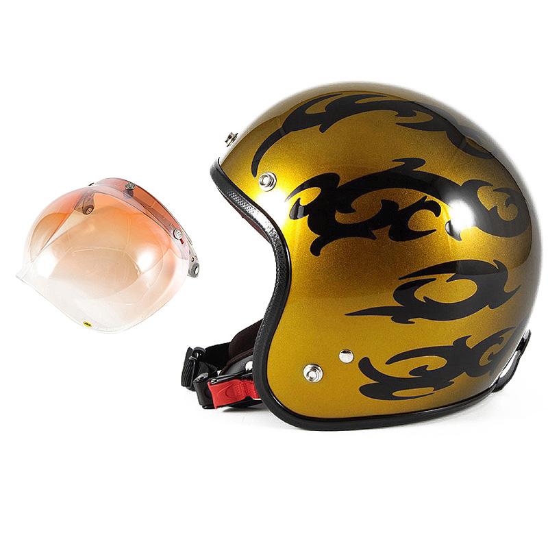 72JAM デザイナーズジェットヘルメット [JCP-23] 開閉シールド付き [JCBN-04]TRIBAL トライバル ゴールド [キャンディーゴールドグラデーションベースグロス仕上げ]FREEサイズ(57-60cm未満) メンズ レディース 兼用品 SG規格 全排気量対応