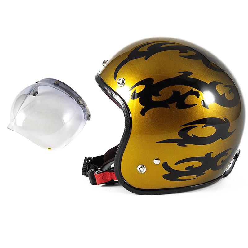 72JAM デザイナーズジェットヘルメット [JCP-23] 開閉シールド付き [JCBN-05]TRIBAL トライバル ゴールド [キャンディーゴールドグラデーションベースグロス仕上げ]FREEサイズ(57-60cm未満) メンズ レディース 兼用品 SG規格 全排気量対応