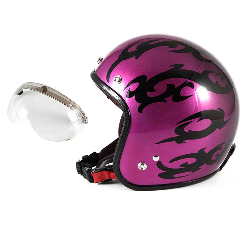 72JAM デザイナーズジェットヘルメット [JCP-24] 開閉シールド付き [APS-03]TRIBAL トライバル パープル [キャンディーマゼンタグラデーションベースグロス仕上げFREEサイズ(57-60cm未満) メンズ レディース 兼用品 SG規格 全排気量対応