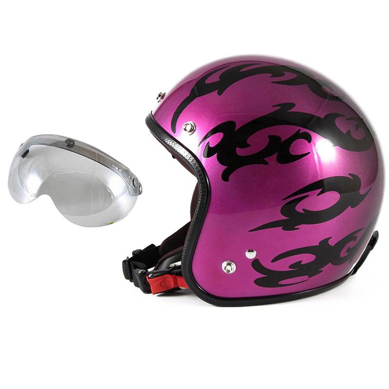72JAM デザイナーズジェットヘルメット [JCP-24] 開閉シールド付き [APS-04]TRIBAL トライバル パープル [キャンディーマゼンタグラデーションベースグロス仕上げFREEサイズ(57-60cm未満) メンズ レディース 兼用品 SG規格 全排気量対応