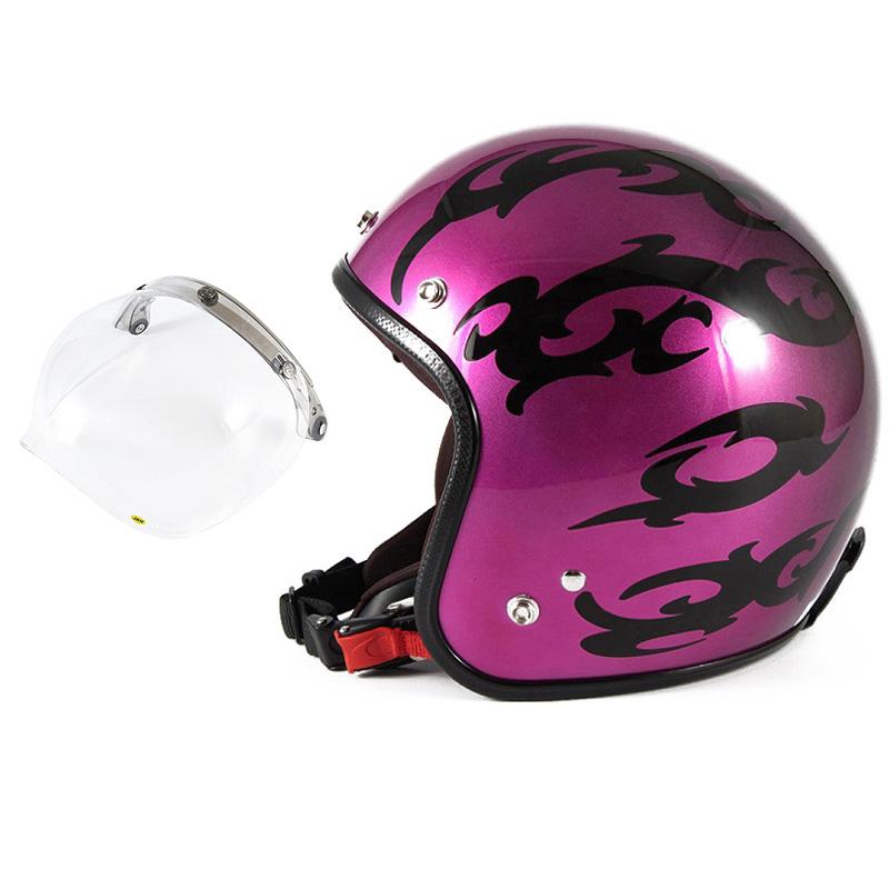 72JAM デザイナーズジェットヘルメット [JCP-24] 開閉シールド付き [JCBN-01]TRIBAL トライバル パープル [キャンディーマゼンタグラデーションベースグロス仕上げFREEサイズ(57-60cm未満) メンズ レディース 兼用品 SG規格 全排気量対応