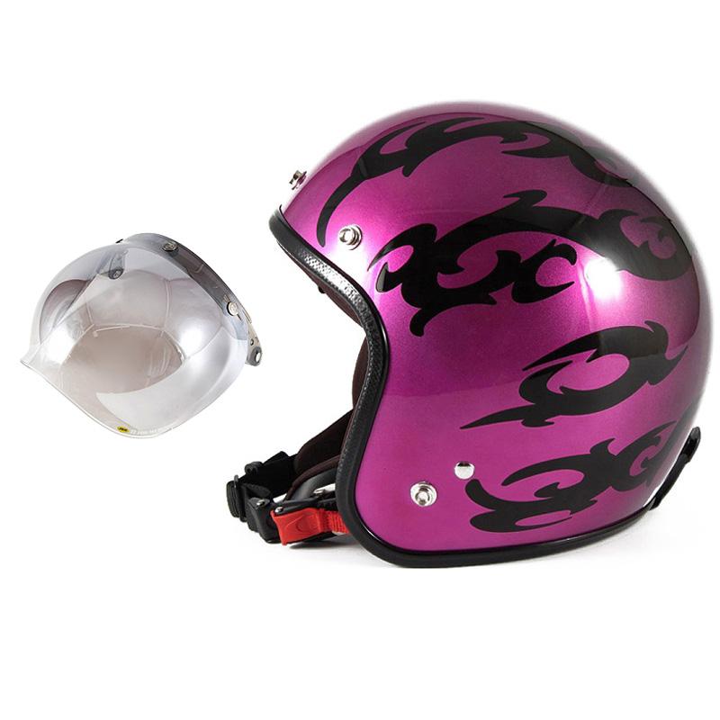 72JAM デザイナーズジェットヘルメット [JCP-24] 開閉シールド付き [JCBN-03]TRIBAL トライバル パープル [キャンディーマゼンタグラデーションベースグロス仕上げFREEサイズ(57-60cm未満) メンズ レディース 兼用品 SG規格 全排気量対応
