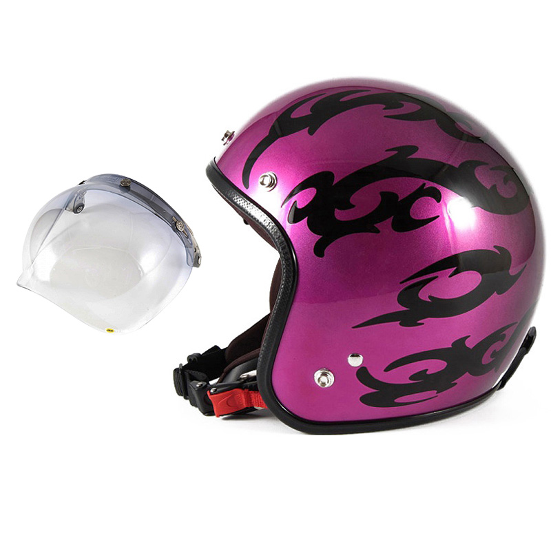 72JAM デザイナーズジェットヘルメット [JCP-24] 開閉シールド付き [JCBN-05]TRIBAL トライバル パープル [キャンディーマゼンタグラデーションベースグロス仕上げFREEサイズ(57-60cm未満) メンズ レディース 兼用品 SG規格 全排気量対応
