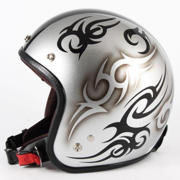 ジャムテックジャパン 72JAM JCP-25TRIBAL トライバル シルバー/ブラックライン ジェットヘルメット [シルバースノーコースメタリックベースグロス仕上げ]FREEサイズ(57-60cm未満) メンズ レディース 兼用品 SG規格 全排気量対応