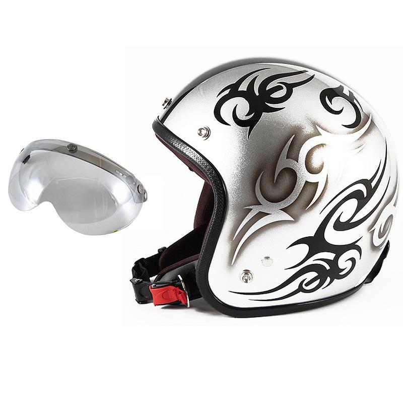 72JAM デザイナーズジェットヘルメット [JCP-25] 開閉シールド付き [APS-04]TRIBAL トライバル シルバー/ブラックライン [シルバースノーコースメタリックベースグロス仕上げ]FREEサイズ(57-60cm未満) メンズ レディース 兼用品 SG規格 全排気量対応