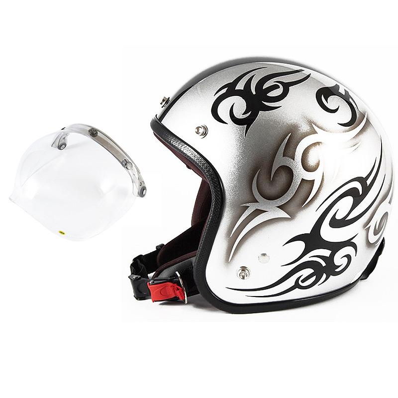 72JAM デザイナーズジェットヘルメット [JCP-25] 開閉シールド付き [JCBN-01]TRIBAL トライバル シルバー/ブラックライン [シルバースノーコースメタリックベースグロス仕上げ]FREEサイズ(57-60cm未満) メンズ レディース 兼用品 SG規格 全排気量対応