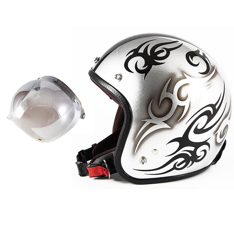 72JAM デザイナーズジェットヘルメット [JCP-25] 開閉シールド付き [JCBN-03]TRIBAL トライバル シルバー/ブラックライン [シルバースノーコースメタリックベースグロス仕上げ]FREEサイズ(57-60cm未満) メンズ レディース 兼用品 SG規格 全排気量対応
