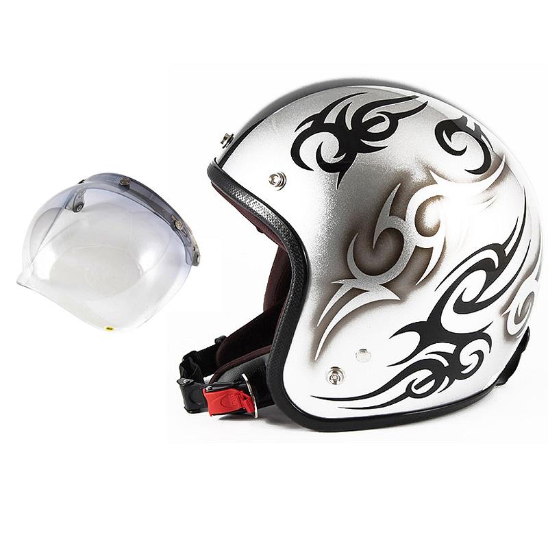 72JAM デザイナーズジェットヘルメット [JCP-25] 開閉シールド付き [JCBN-05]TRIBAL トライバル シルバー/ブラックライン [シルバースノーコースメタリックベースグロス仕上げ]FREEサイズ(57-60cm未満) メンズ レディース 兼用品 SG規格 全排気量対応